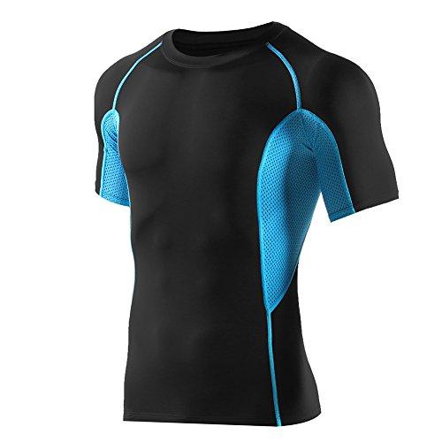 半袖 ラウンドネックスポーツシャツ コンプレッションウェア メンズ (L, ブラック/ブルー)