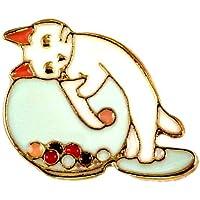 ピンバッジ 水槽 の ビー玉 と 猫 シロネコ ピンズ ピンバッチ