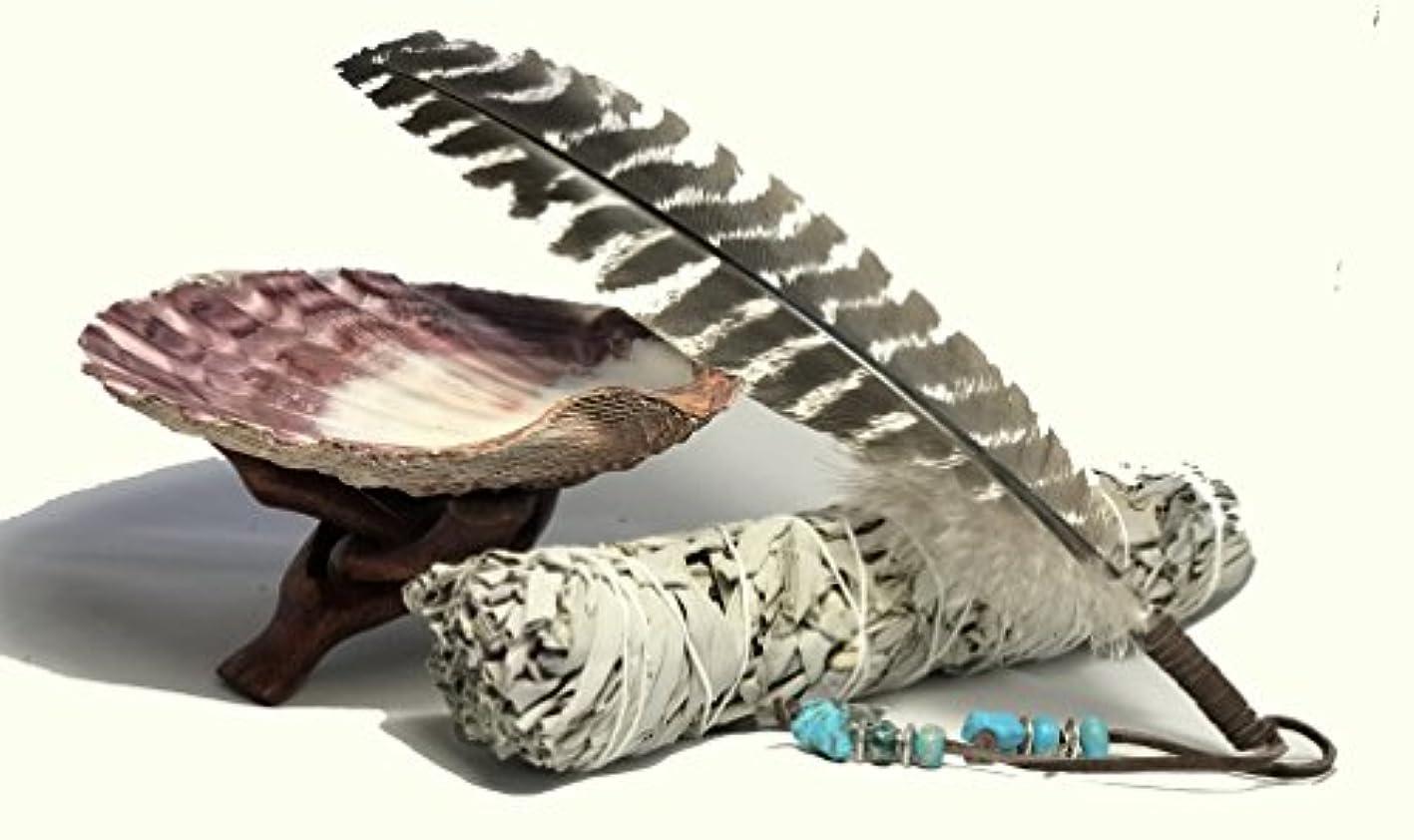 伝えるインテリア前大きな美しいプレミアムLion Pawシェル、木製コブラ三脚スタンド、LargeホワイトセージSmudge Stick and a handフェザー装飾。ホーム祝福とクレンジングRitual Instructions Included。