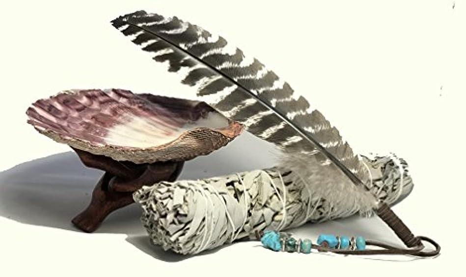 大腿同一性若い大きな美しいプレミアムLion Pawシェル、木製コブラ三脚スタンド、LargeホワイトセージSmudge Stick and a handフェザー装飾。ホーム祝福とクレンジングRitual Instructions Included。