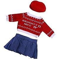 Dovewill  人形用 かわいい ニットセーター トップ デニム ドレス 帽子 18インチ アメリカンガールドール適用 装飾