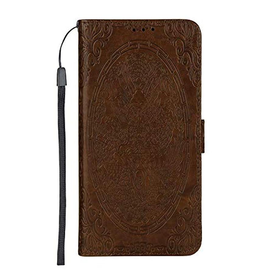 独裁者もろいグリーンランドCUSKING Huawei Y3 2017 ケース手帳型 [ドラゴン柄] 多機能 手帳ケース カード収納 スタンド 機能 人気 全面保護カバー ファーウェイ ケース –褐色