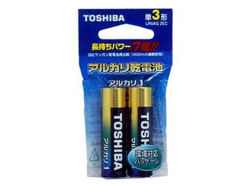 東芝 アルカリ乾電池単3形 2本パックアルカリ1 エコパッケージ LR-6AG-2EC
