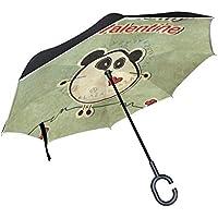 逆さ傘 逆折り式傘 車用 日傘 長傘 パンダクマ柄 バレンタインデー UVカット 手離れC型手元 撥水加工 晴雨兼用 耐風 124センチ