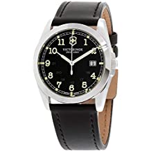 Victorinox Infantry Black Dial Leather Strap Mens Watch 241584XG (Renewed)
