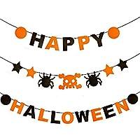 Minloor ハッピー ハロウィーン バナー ドクロ 蜘蛛 ハロウィンバナー パーティー装飾用品 ホームデコレーション ガーランド 部屋 飾り Happy Halloween (ハロウィンの装飾品+ 2個 3mブラックいロープ)