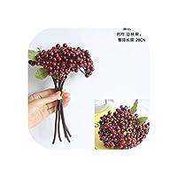 豆枝ベリー偽花フルーツ花絹の花輸出家の装飾GF 13645,クリムゾン