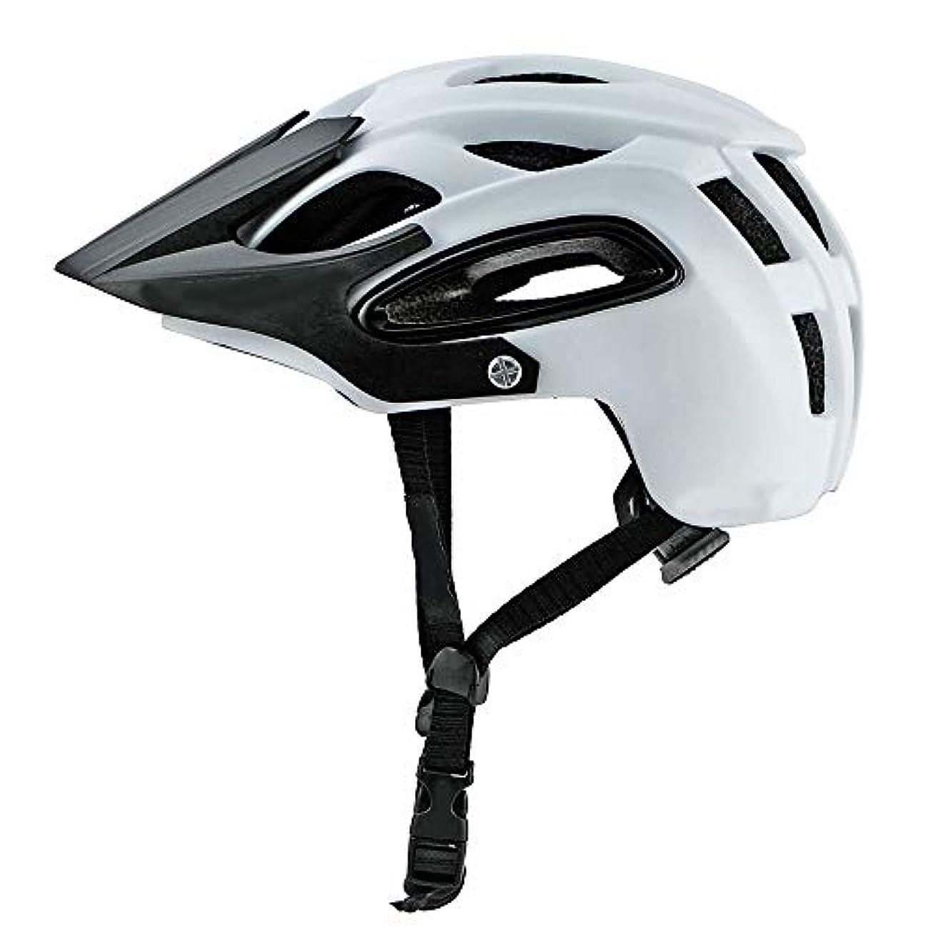 天窓ぞっとするような乳白色Safety マウンテンバイク男性と女性の乗馬用ヘルメットマウンテンフォレストオフロード深度保護安全通気性ヘルメット (色 : White)