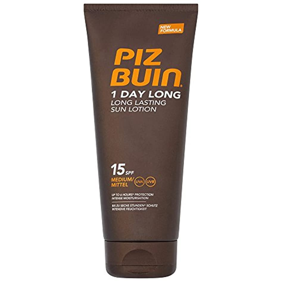 一時解雇するラベルネーピアピッツブーインの1日長い15の日焼けローション200 x4 - Piz Buin 1 Day Long SPF15 Sun Lotion 200ml (Pack of 4) [並行輸入品]