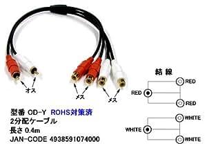 オーディオケーブルL/R(2分配) 0.4m