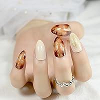 XUTXZKA 24本の光沢のある偽ワインレッドマーブル偽あなたの指を飾るミディアムマニキュア