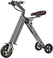 三輪折りたたみ 電動バイク バッテリー18650リチウム電池 25〜30KMまでの完全なバッテリー寿命の走行距離です (シルバー)