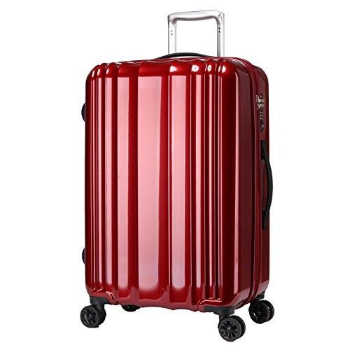 Windtook 激安ソフトアルミキャリースーツケース 超軽量人気旅行布キャリーバック ファスナー開閉式 キャリーバッグ 自由四輪M6084 M レッド