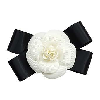 コサージュ フォーマル 手作り ホワイト リボンにお花の高級感のあるコサージュ 入学式 卒業式 結婚式 シュシュ 浴衣 (WHITE)