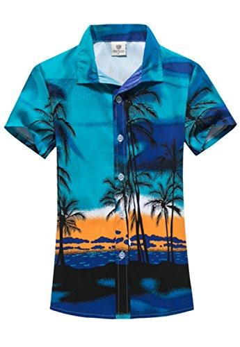 (ワイ-ミー)Y-ME 半袖シャツ ビーチシャツ アロハシャツ おしゃれ 旅行 カップルシャツ blue 39/L
