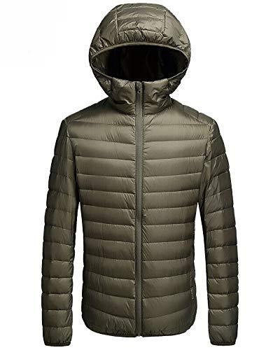 Faston ライト ダウン ジャケット メンズ 超軽量 フード付き 防寒 暖かい 秋 冬 ウルトラライト コート LM005 (M, みどり)