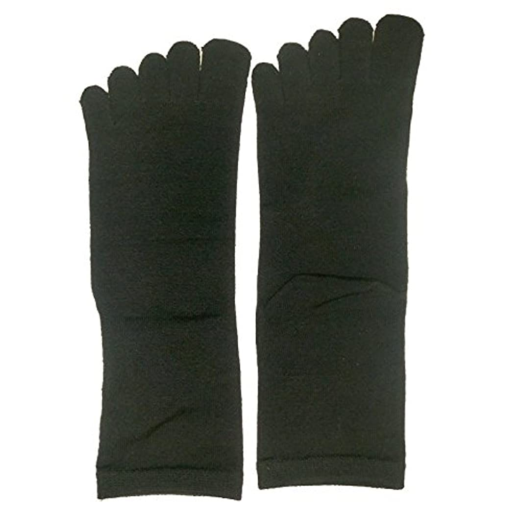 発明異議セブン【3足セット】シルク 五本指 ソックス レギュラー丈 25-27cm 日本製 (ブラック)絹 靴下