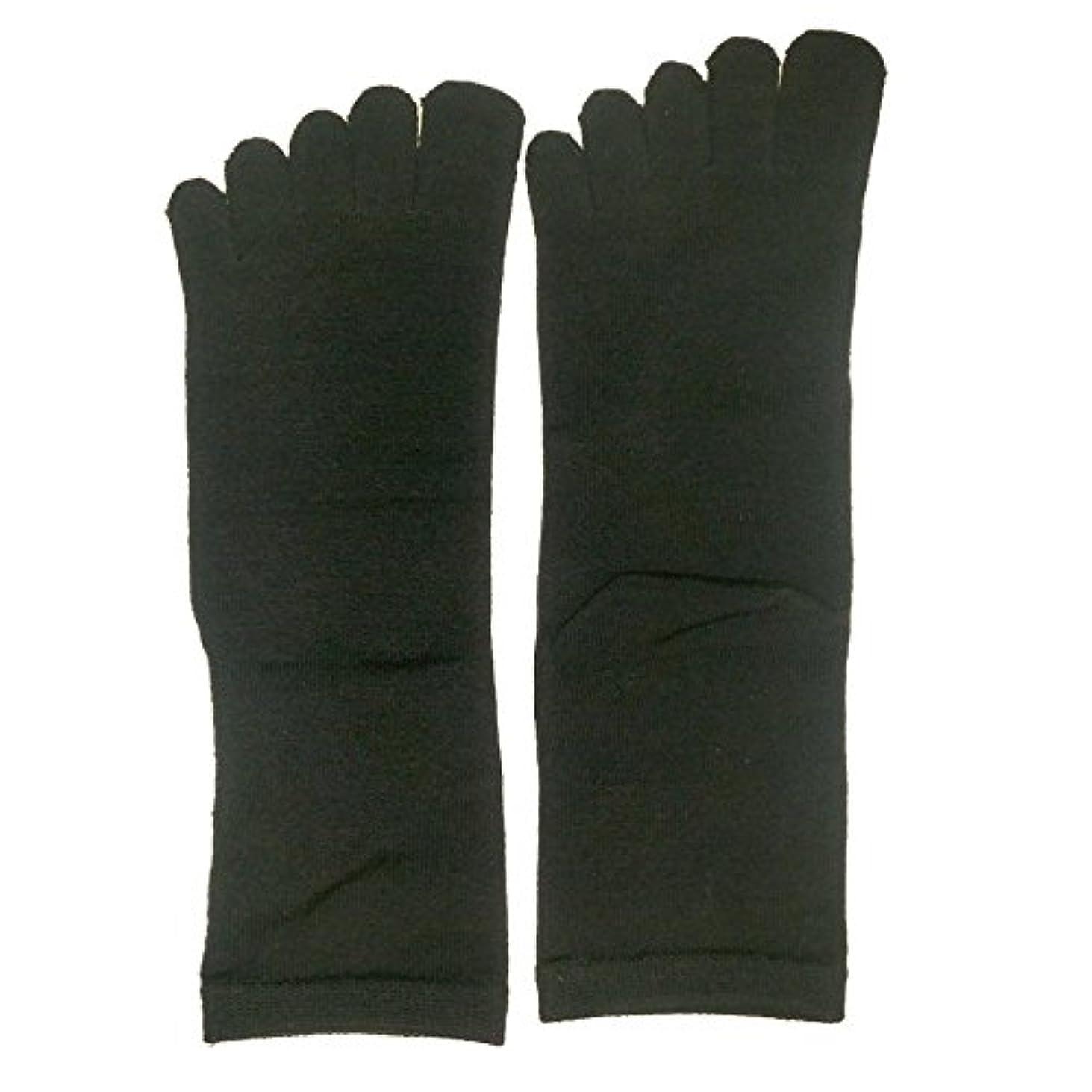 パーティーご飯木曜日【3足セット】シルク 五本指 ソックス レギュラー丈 25-27cm 日本製 (ブラック)絹 靴下