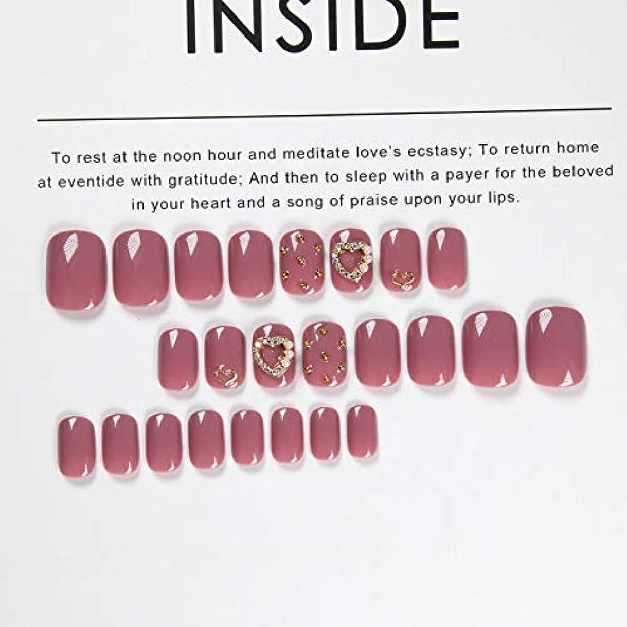回復する最大化するピークAFAEF HOME 偽爪キット24pcsピンクダイヤモンド付き偽爪接着剤付きフルカバーミディアムレングス