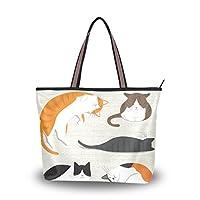 41d495ac0862 Mikyu(ミクョ)トートバッグ レディース おしゃれ ファスナー 大容量 ハンドバッグ ネコ 猫柄 かわいい