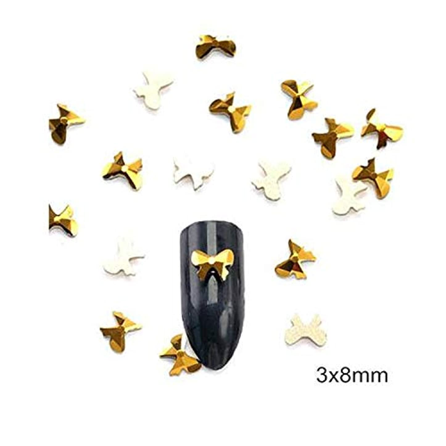 飢饉核ストロークFlysea ダイヤモンドゴールド完全な形のネイルステッカースーパーフラッシュネイルジュエリーフラットドリルはネイルズアートの装飾結晶が設定したドリル(12グリッドボックス) (色 : Bow 10PCS)