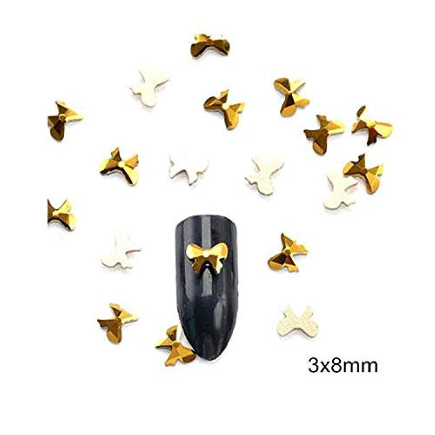 ベッツィトロットウッドビュッフェ参加者Flysea ダイヤモンドゴールド完全な形のネイルステッカースーパーフラッシュネイルジュエリーフラットドリルはネイルズアートの装飾結晶が設定したドリル(12グリッドボックス) (色 : Bow 10PCS)