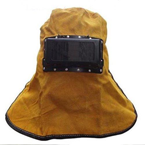 溶接面 マスク 皮面 牛革 かぶり面 保護具 ゴーグル 頭巾 遮光