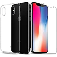 KYOKA 2点セット iPhone X ケース クリア ガラスフィルム 衝撃吸収 ソフト 落下防止 透明 TPU アイフォンX ケース (iPhoneX)
