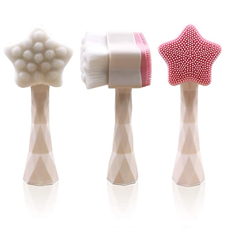 強度夕方スティックLYX 立ち五芒星両面洗浄ブラシマニュアルクレンジングブラシ柔らかいブラシマニュアルクリーニング機器のソフト髪のシリコーンクレンジングツールウォッシュツール (Color : 白)