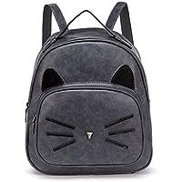 Women Mini Leather Backpacks Cute Cat Kids Girls Daypack Rucksack Small Bags Grey