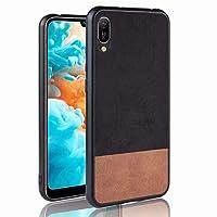 Snriyp- 電話ケース Huawei Y6 Pro 2019ケースカバー、PU + TPUに一致したカラーカウボーイジーンズテクスチャケースソフトカバーHuawei Y6 Pro 2019用 (Color : Black)