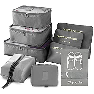 ZX popular トラベルポーチ 旅行収納ポーチ 9点セット アレンジケース 軽量 衣類収納バッグ3個 下着や靴下収納ポーチ3個 シューズバッグ2個 洗面用具入れ1個