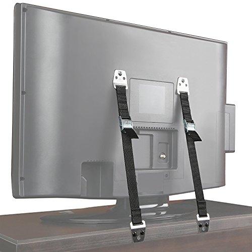 Q-Beau テレビ 転倒防止 TV 固定 地震対策ベルト 耐震ストッパー 2本セット,ボルトとハードウェアが含まれて [12ヶ月の保証]