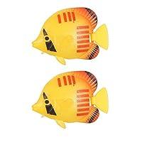 uxcell 魚飾り 水族館 人造魚 プラスチック イエロー レッド  4.5x 3 x 1.2cm
