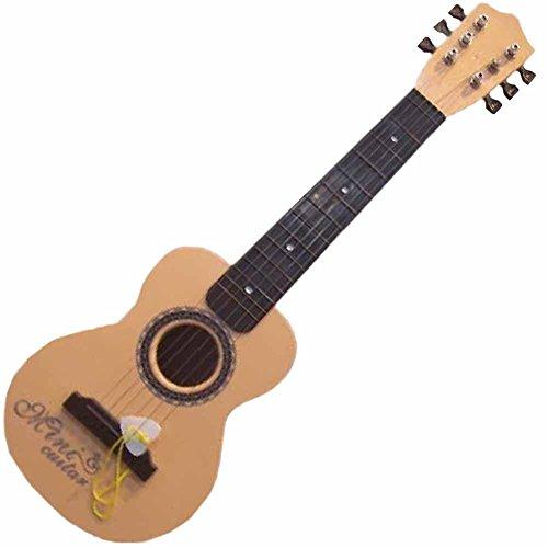 COM-SHOT 【 ミニ ギター 】 本格 仕様 48cm 子供 用 コンパクト 軽量 ベース アコースティック 弦 楽器 プレゼント 弾いた感覚を楽しめる 【 ベージュ 】 MI-MINIGITER-BE