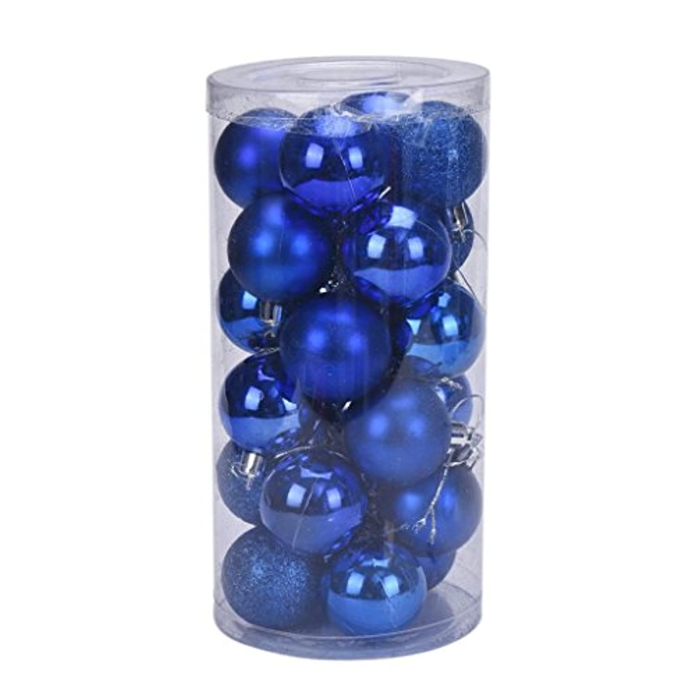 Creazyクリスマス4 cm 24個プラスチッククリスマスツリー装飾ボール ブルー
