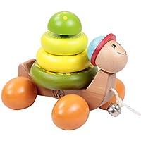 Yousheng 木製 プルアロング おもちゃ 木製 ベビー ドラッグ アニマルトイ 1歳の赤ちゃん用おもちゃ - プルロープ (色: スネイル)
