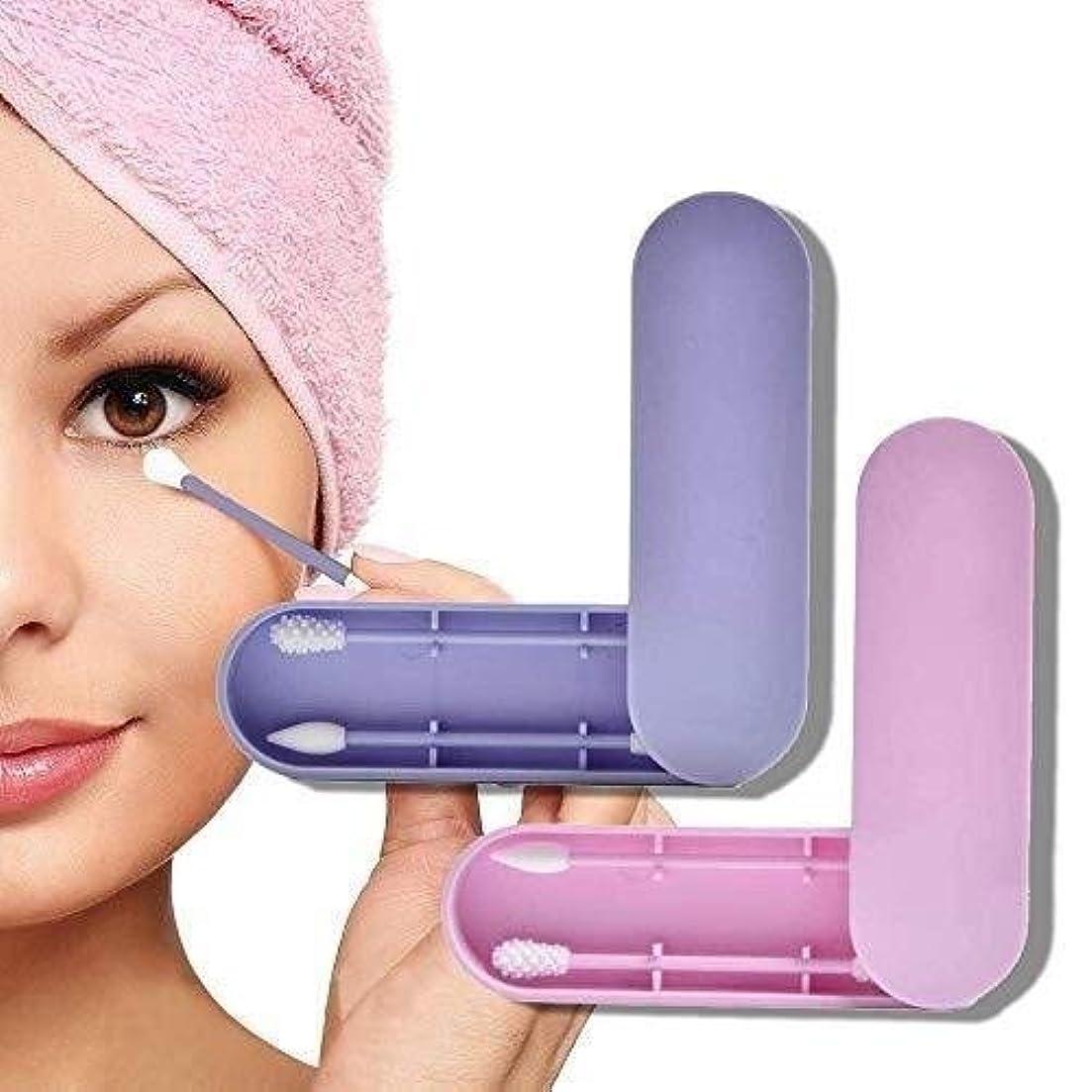 民間学士無傷LYX 2 PCSダブルエコフレンドリーシリコーン綿の芽耳掃除は、再利用可能な綿棒、収納ケース付き化粧バドスティックをピック両面 (Color : Purple+Pink)