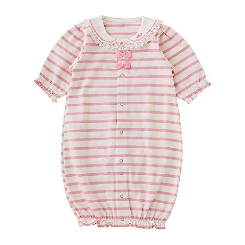 (チャックルベビー) chuckle BABY ボンシュシュ ボーダー 新生児ツーウェイオール ピンク 50-60cm P5545-00-20
