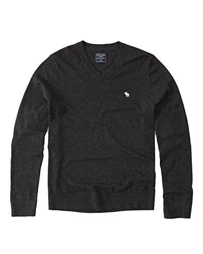 (アバクロンビー&フィッチ) アバクロ メンズ Vネック ウール ニット セーター [ダーグレー/MOOSE刺繍] L [並行輸入品]