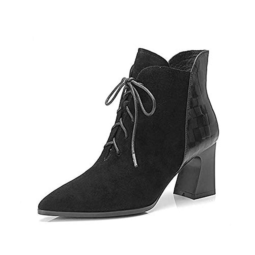 家禽適応クラフトレディースアンクルブーツ、ファッションナイトブーツ、秋冬新革靴、カラーマッチングスクラブブーツ、快適なレディースブーツ (色 : ブラック, サイズ : 38)