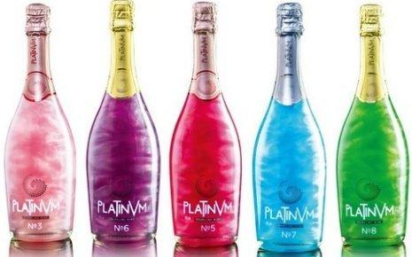 プラチナム フレグランス ラメ スパークリングワイン【5本セット】【ピンク・レッド・パープル・ブルー・グリーン】