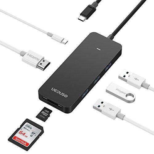 USB C ハブ type c hub macbook pro usb c 4kHDMIポート 充電ポートデータ転送ポートport SD&TFカードリーダー USB3.0 MACBOOKPro13/MACBOOKPro14等の多機種に対応 UCOUSO UC-H06a(ブラック)