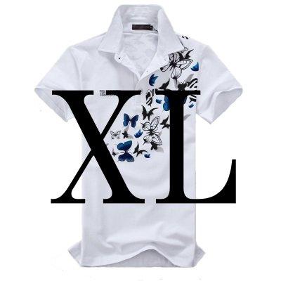 (メイク トゥ ビー) Make 2 Be メンズ 蝶柄 乱舞 ポロシャツ 和柄 半袖 カジュアル シャツ ゴルフ ウェア バタフライ MF02 (03.White XL_Size)
