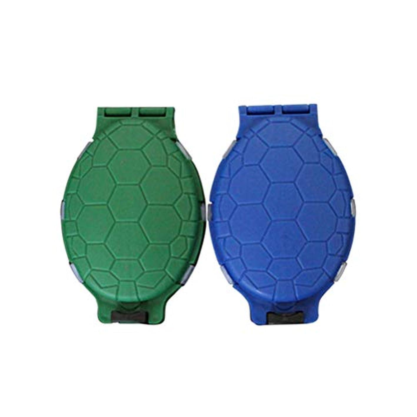 動脈調停するシェルLIOOBO 2本タックルボックススクエアフィッシングルアーボックスタートルシェイプベイトフックフィッシングタックルアクセサリー収納ボックスケースコンテナ(グリーンブルー)