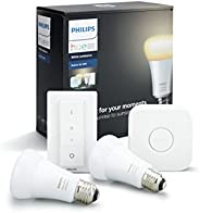 Philips Hue White Ambiance Smart Bulb Starter Kit - Edison Screw E27 (Compatible with Amazon Alexa, Apple Home