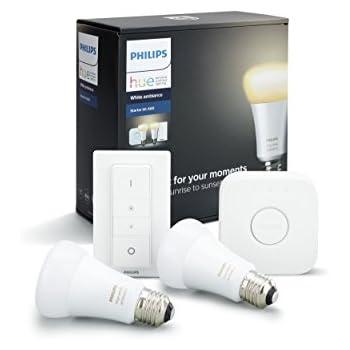 Philips Hue(ヒュー)   ホワイトグラデーション スターターセット   E26スマートLEDライト2個+ブリッジ1個+ディマースイッチ1個  【Amazon Echo、Google Home、Apple HomeKit、LINEで音声コントロール】