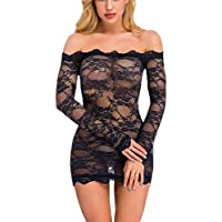 Womens Skinny Strapless One Piece Long Sleeve Lace Erotic Underwear