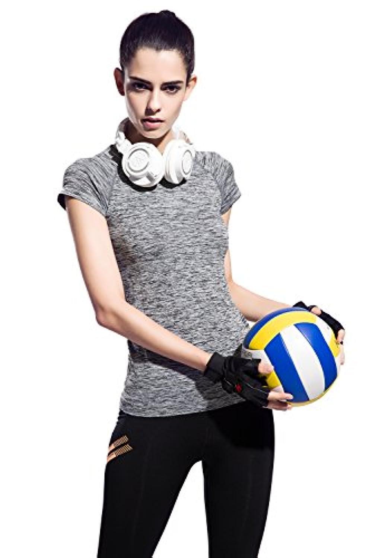 (オナーファション) Honour Fashion トレーニングウェア レディース 色柄 半袖 ラウンドネック Tシャツ フィットネス 吸汗速乾 スポーツ トップ