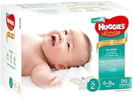 Huggies Ultimate Nappies, Unisex, Size 2 Infant (4-8kg), 96 Count